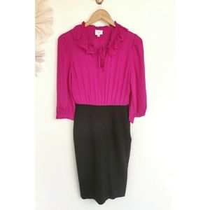 Parker Pink and Black Dress with Ruffles and Tie